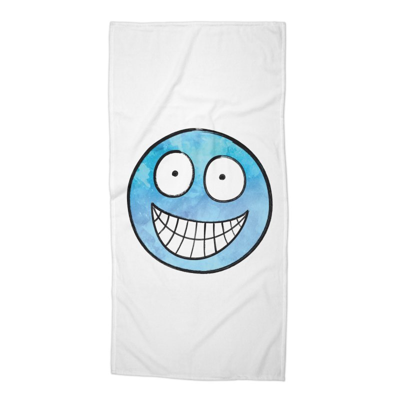 Smiley-Face - Blue Accessories Beach Towel by Puttyhead's Artist Shop