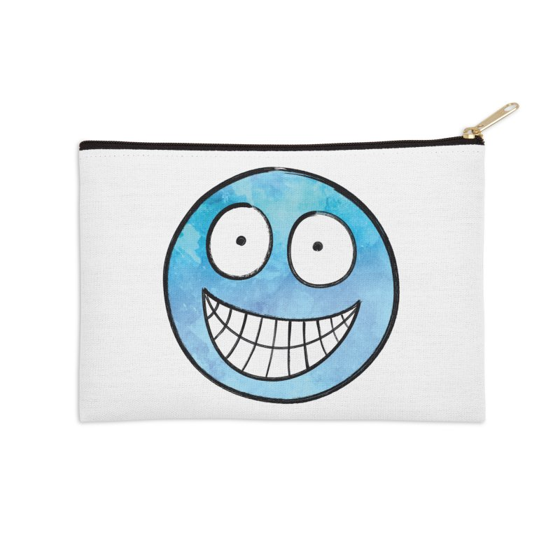 Smiley-Face - Blue Accessories Zip Pouch by Puttyhead's Artist Shop