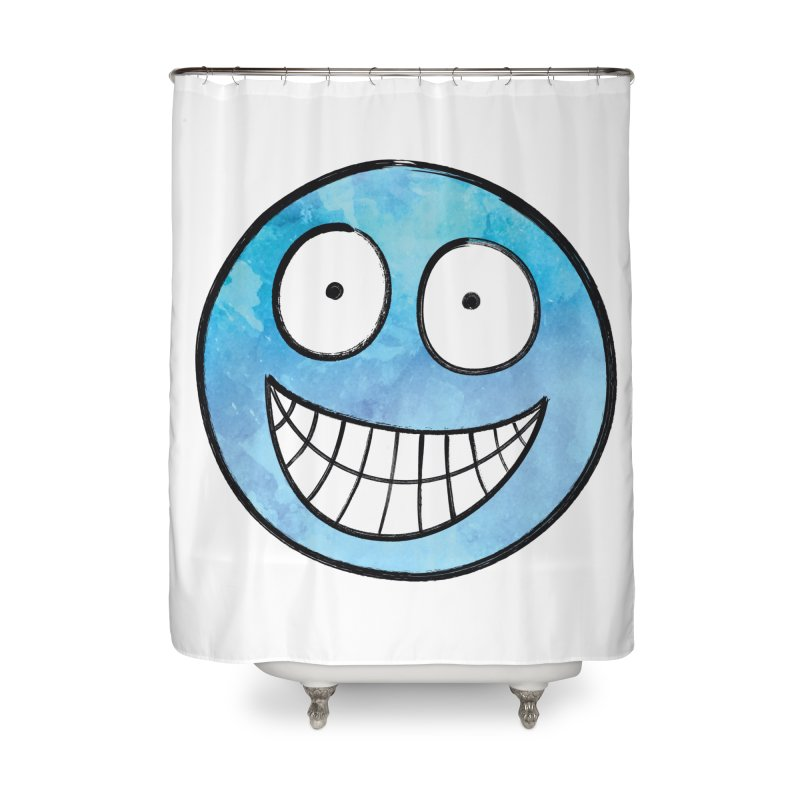 Smiley-Face - Blue Home Shower Curtain by Puttyhead's Artist Shop