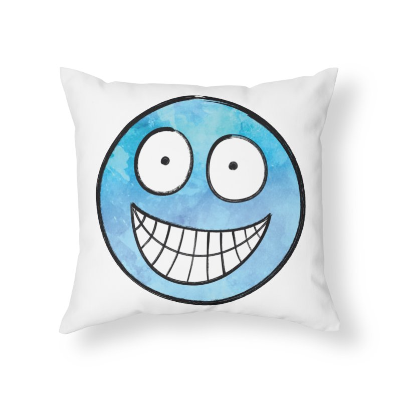 Smiley-Face - Blue Home Throw Pillow by Puttyhead's Artist Shop