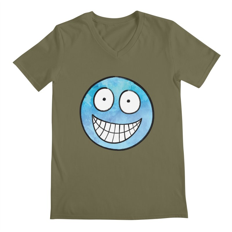 Smiley-Face - Blue Men's V-Neck by Puttyhead's Artist Shop