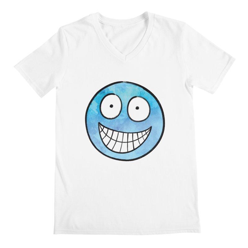 Smiley-Face - Blue Men's V-Neck by Puttyhead's Artist Shop