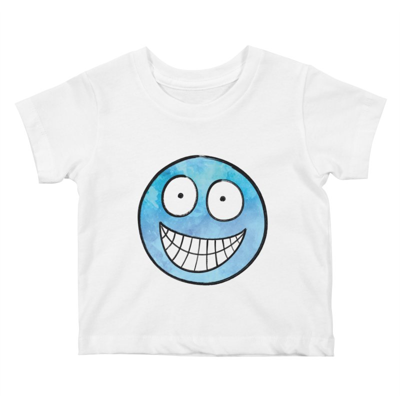 Smiley-Face - Blue Kids Baby T-Shirt by Puttyhead's Artist Shop