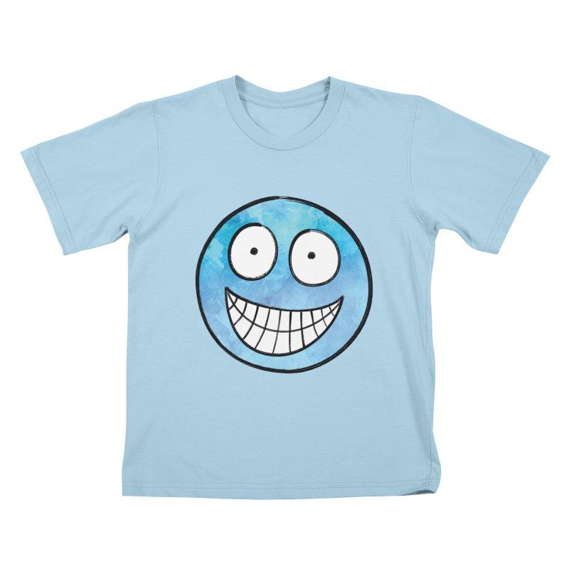 Smiley-Face - Blue Kids T-shirt by Puttyhead's Artist Shop