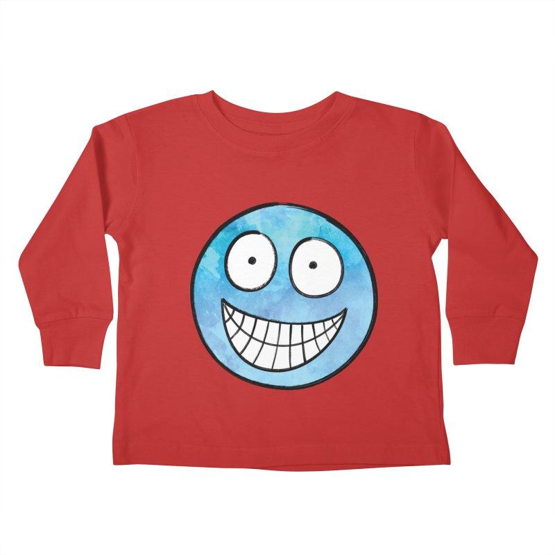 Smiley-Face - Blue Kids Toddler Longsleeve T-Shirt by Puttyhead's Artist Shop
