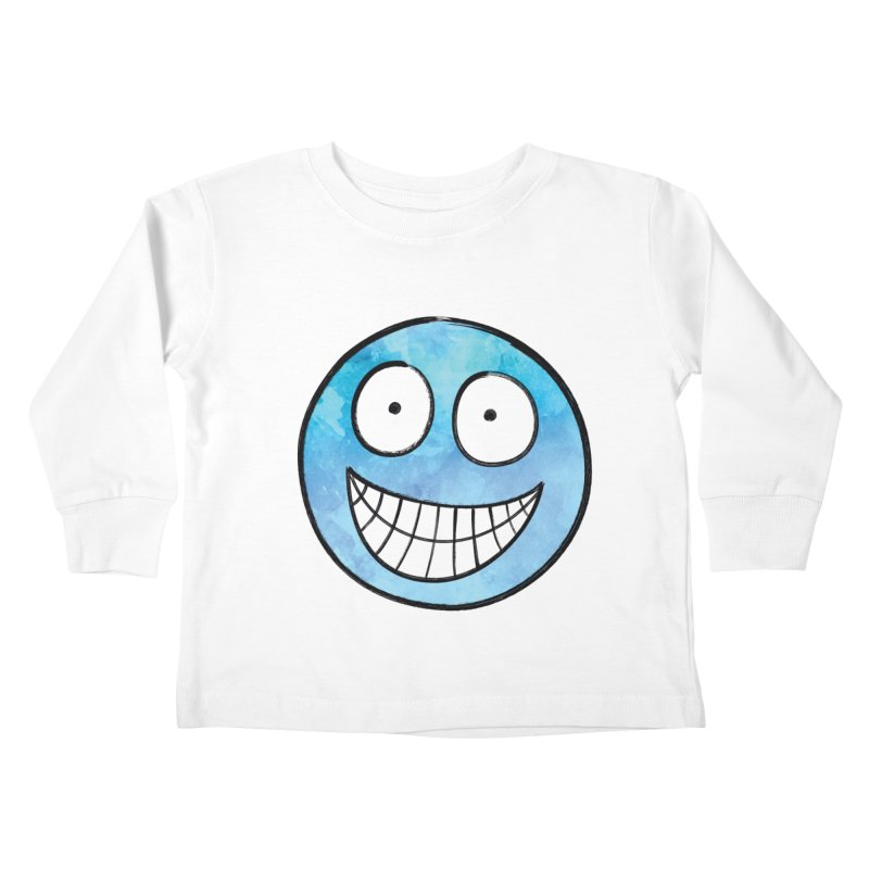 Smiley-Face - Blue Kids Toddler Longsleeve T-Shirt by Puttyhead's Artist Shop
