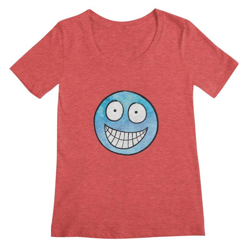 Smiley-Face - Blue Women's Scoopneck by Puttyhead's Artist Shop