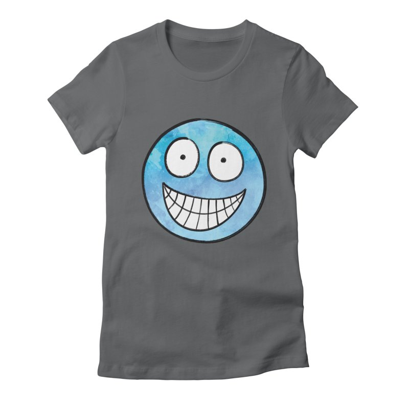 Smiley-Face - Blue Women's Fitted T-Shirt by Puttyhead's Artist Shop