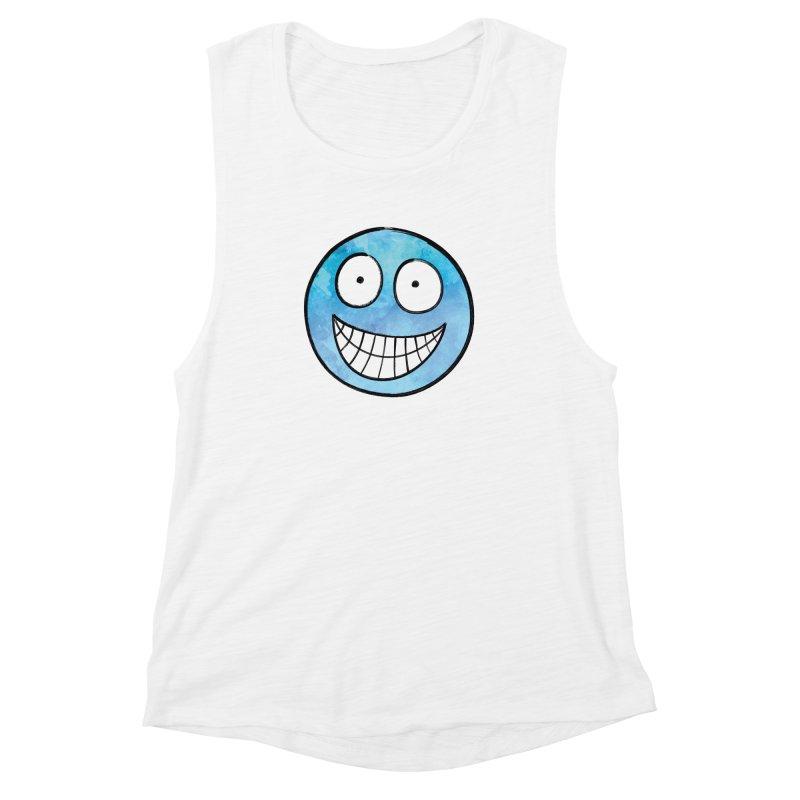 Smiley-Face - Blue Women's Muscle Tank by Puttyhead's Artist Shop