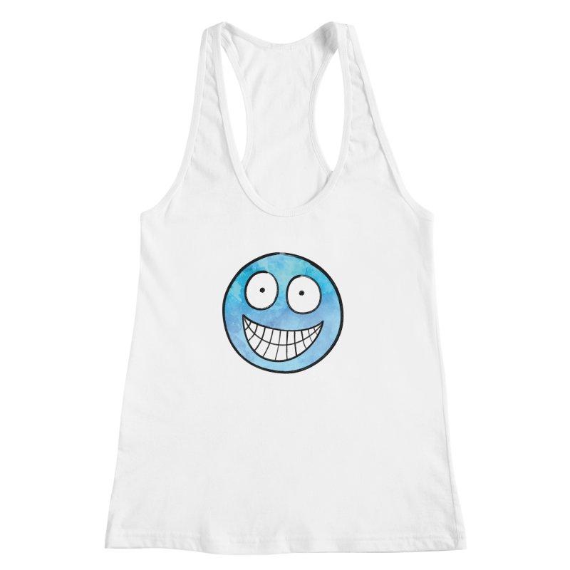 Smiley-Face - Blue Women's Racerback Tank by Puttyhead's Artist Shop