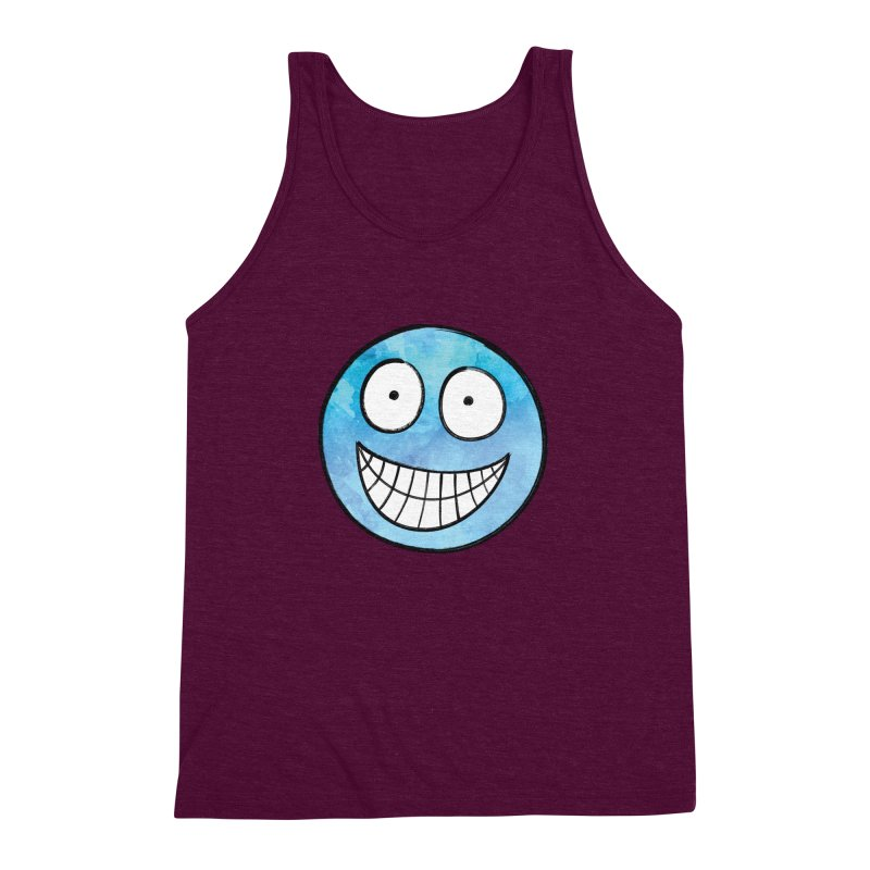 Smiley-Face - Blue Men's Triblend Tank by Puttyhead's Artist Shop