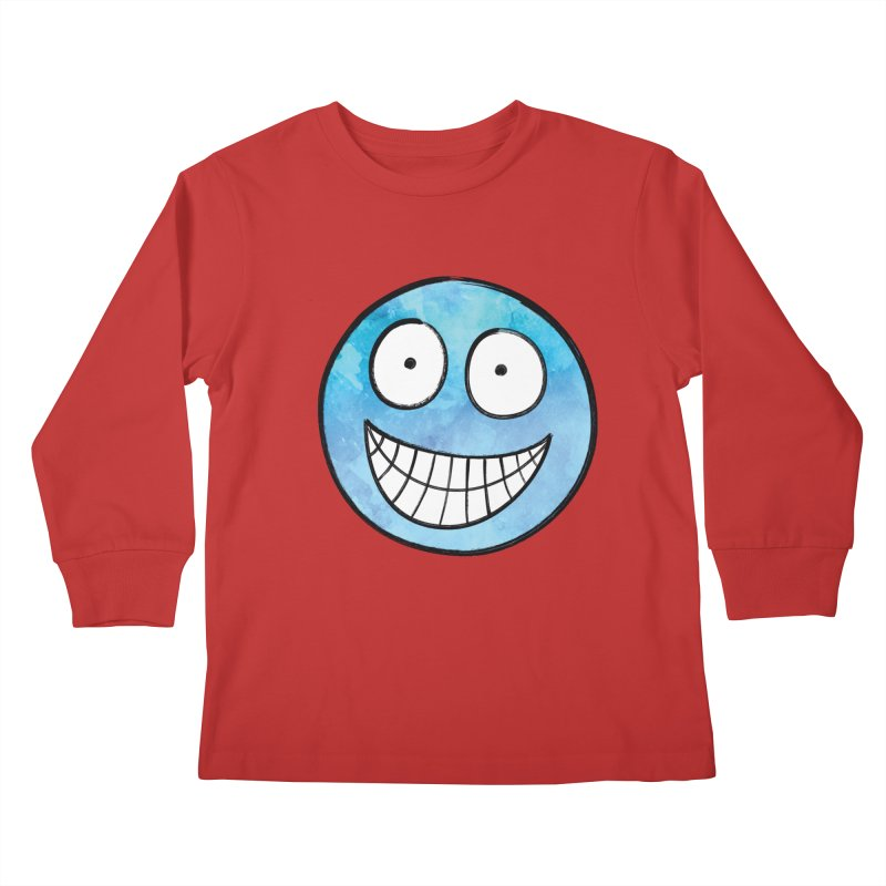 Smiley-Face - Blue Kids Longsleeve T-Shirt by Puttyhead's Artist Shop