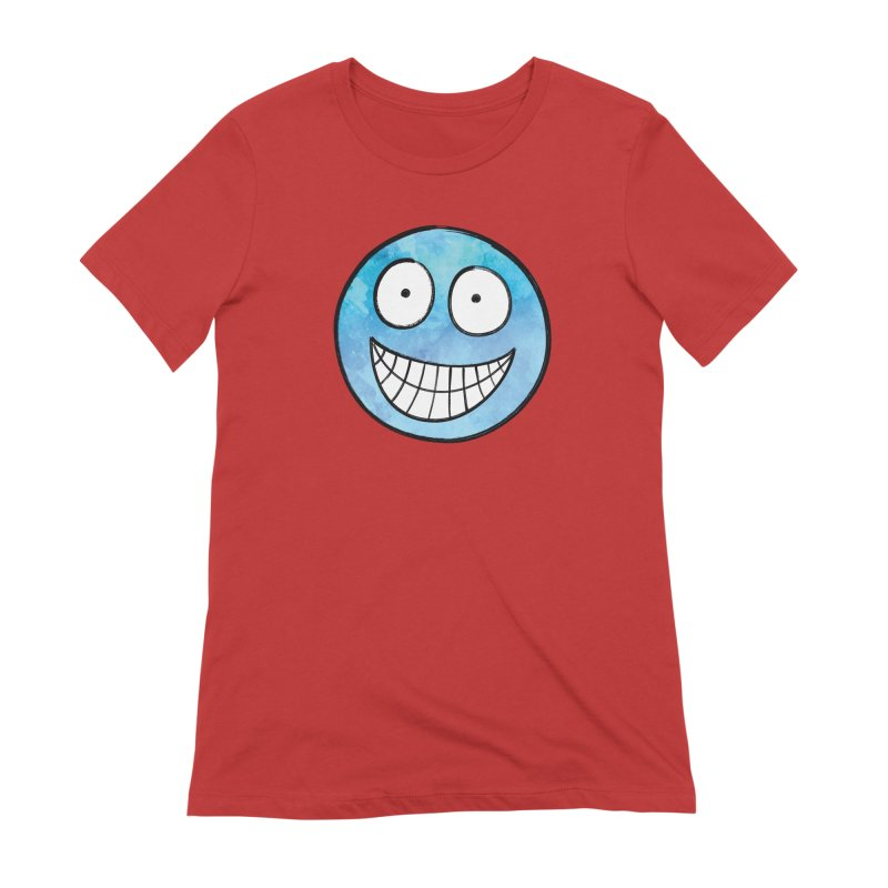 Smiley-Face - Blue Women's Extra Soft T-Shirt by Puttyhead's Artist Shop
