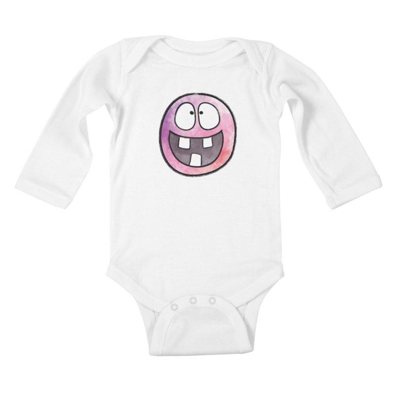 Smiley-Face - 3-teeth Kids Baby Longsleeve Bodysuit by Puttyhead's Artist Shop