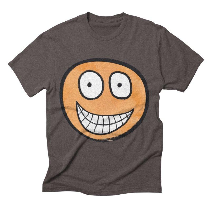Smiley-Face - Orange Men's Triblend T-shirt by Puttyhead's Artist Shop