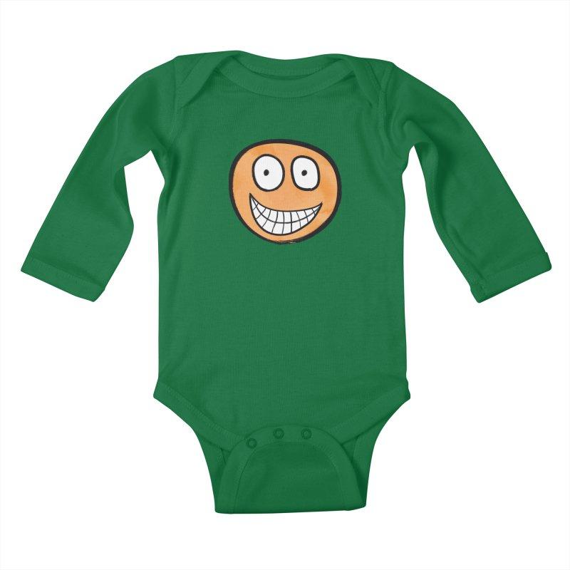 Smiley-Face - Orange Kids Baby Longsleeve Bodysuit by Puttyhead's Artist Shop