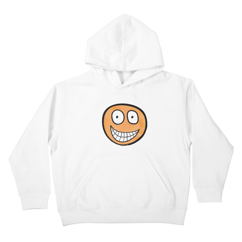 Smiley-Face - Orange Kids Pullover Hoody by Puttyhead's Artist Shop
