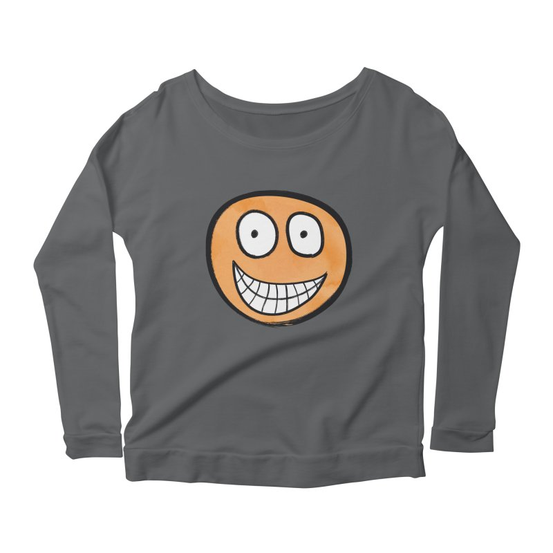 Smiley-Face - Orange Women's Longsleeve Scoopneck  by Puttyhead's Artist Shop