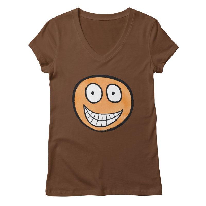 Smiley-Face - Orange Women's V-Neck by Puttyhead's Artist Shop