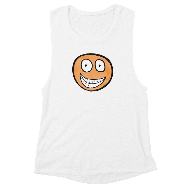 Smiley-Face - Orange Women's Muscle Tank by Puttyhead's Artist Shop