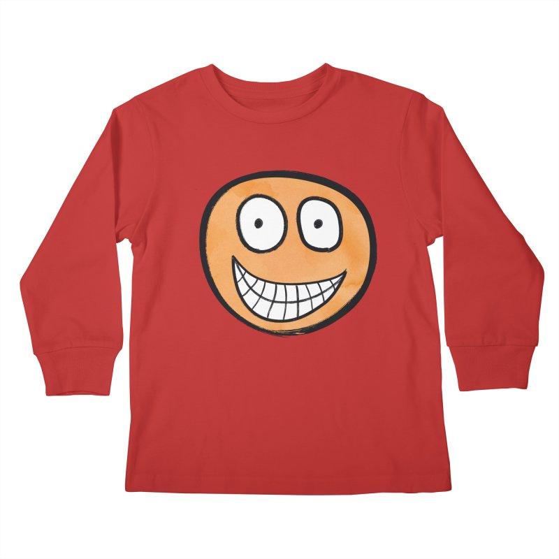 Smiley-Face - Orange Kids Longsleeve T-Shirt by Puttyhead's Artist Shop