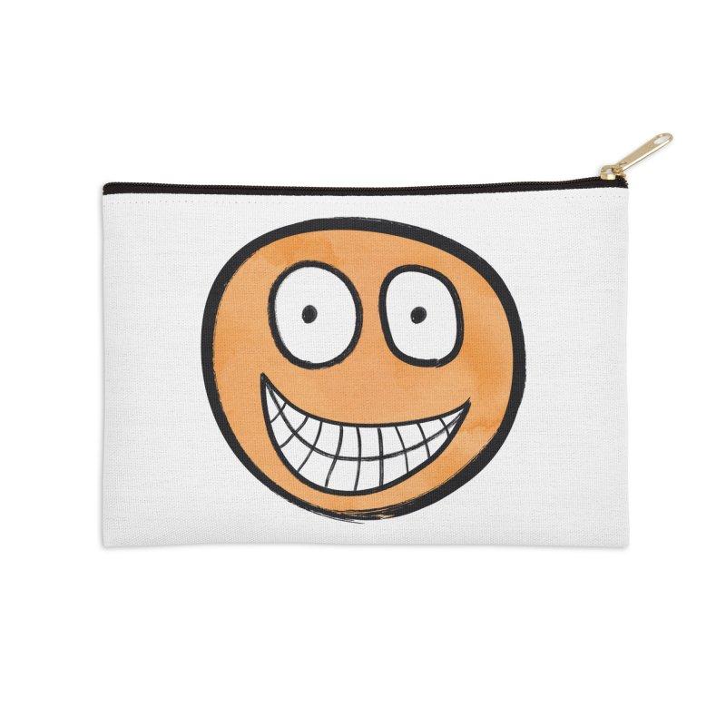 Smiley-Face - Orange Accessories Zip Pouch by Puttyhead's Artist Shop