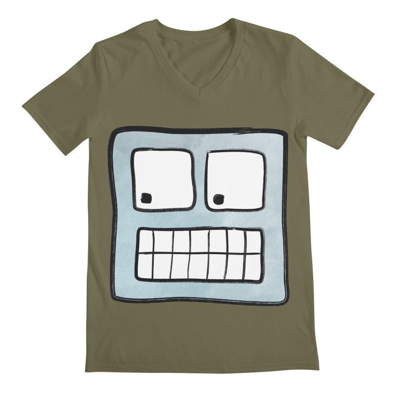 Smiley-Face - Robot Men's V-Neck by Puttyhead's Artist Shop