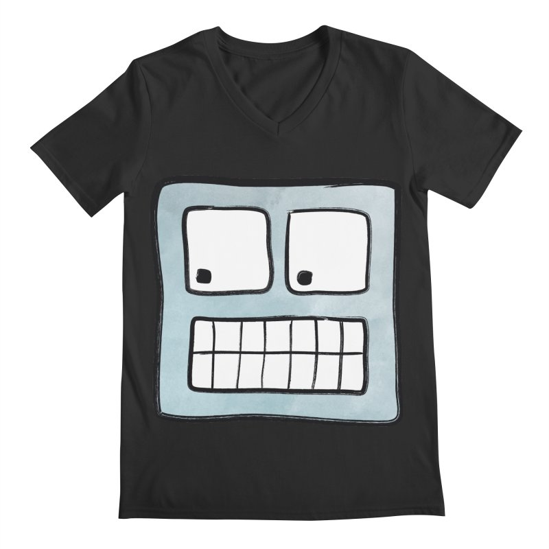 Smiley-Face - Robot Men's V-Neck by Puttyhead's Artist Shop