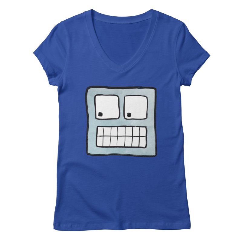 Smiley-Face - Robot Women's V-Neck by Puttyhead's Artist Shop