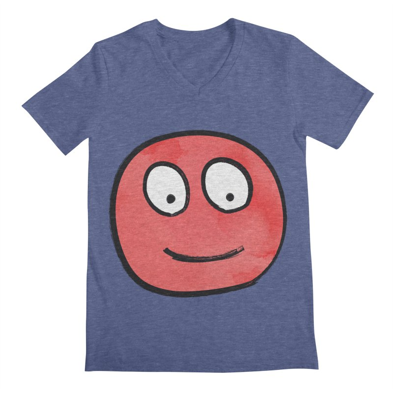Smiley-Face - Red Men's V-Neck by Puttyhead's Artist Shop