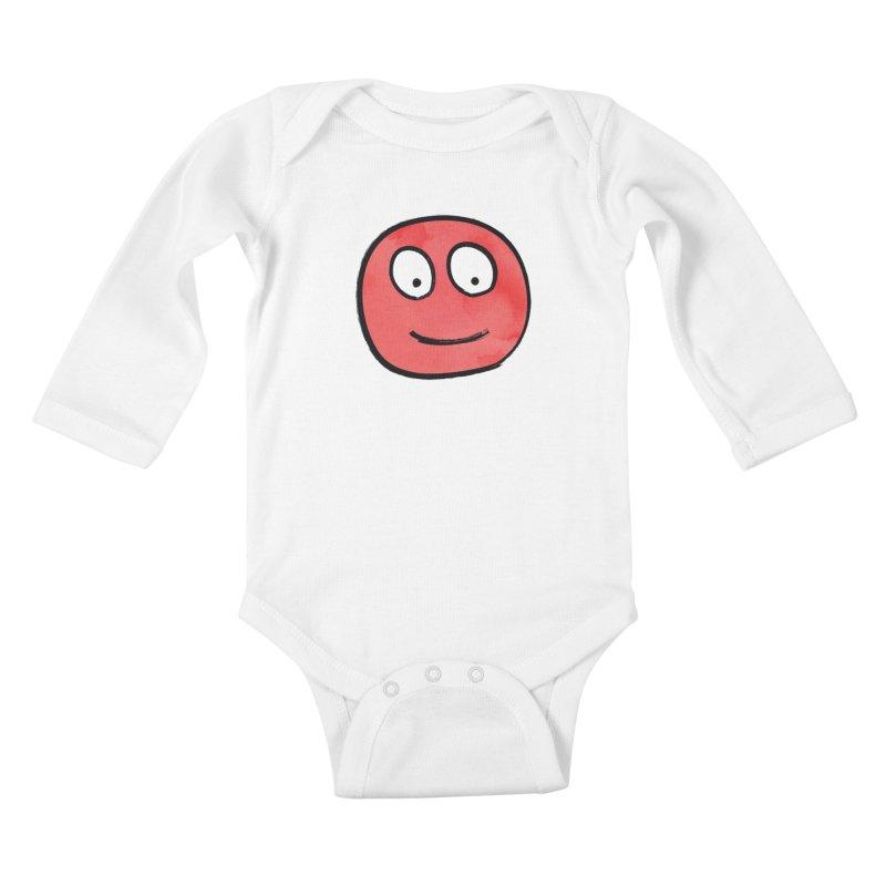 Smiley-Face - Red Kids Baby Longsleeve Bodysuit by Puttyhead's Artist Shop
