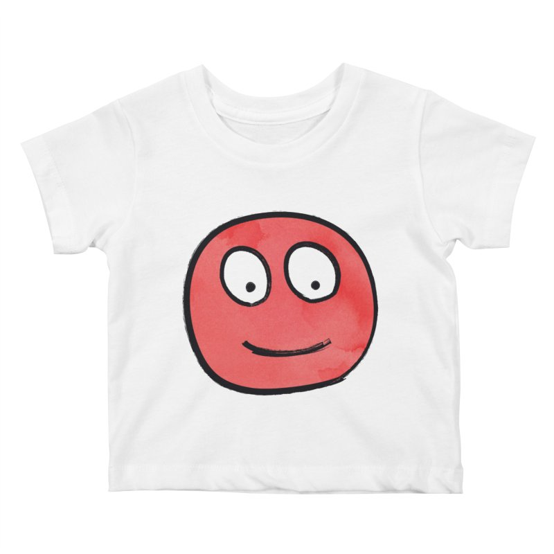 Smiley-Face - Red Kids Baby T-Shirt by Puttyhead's Artist Shop