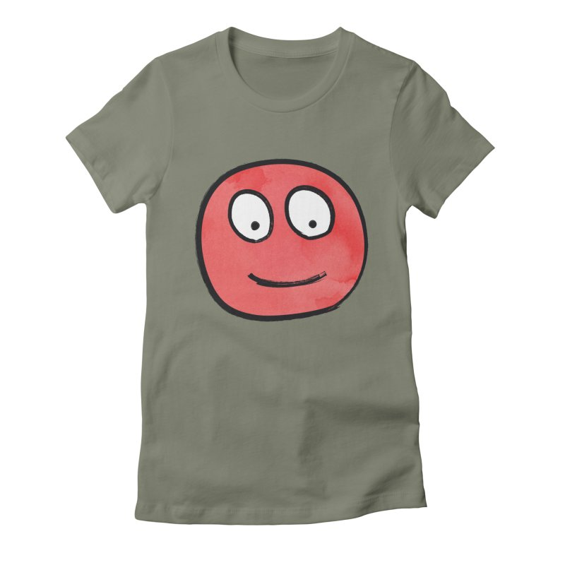Smiley-Face - Red Women's Fitted T-Shirt by Puttyhead's Artist Shop