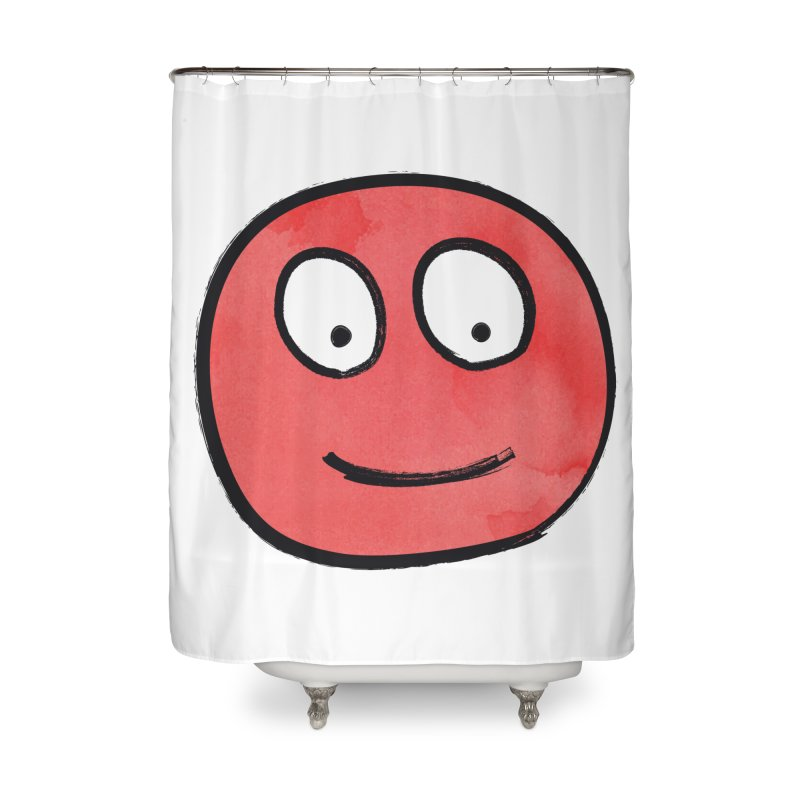 Smiley-Face - Red Home Shower Curtain by Puttyhead's Artist Shop