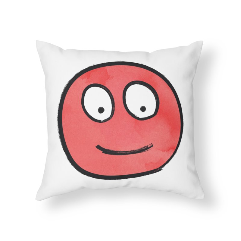 Smiley-Face - Red Home Throw Pillow by Puttyhead's Artist Shop