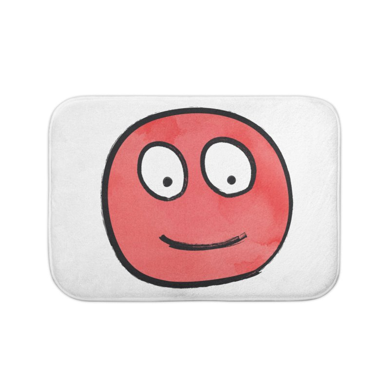 Smiley-Face - Red Home Bath Mat by Puttyhead's Artist Shop