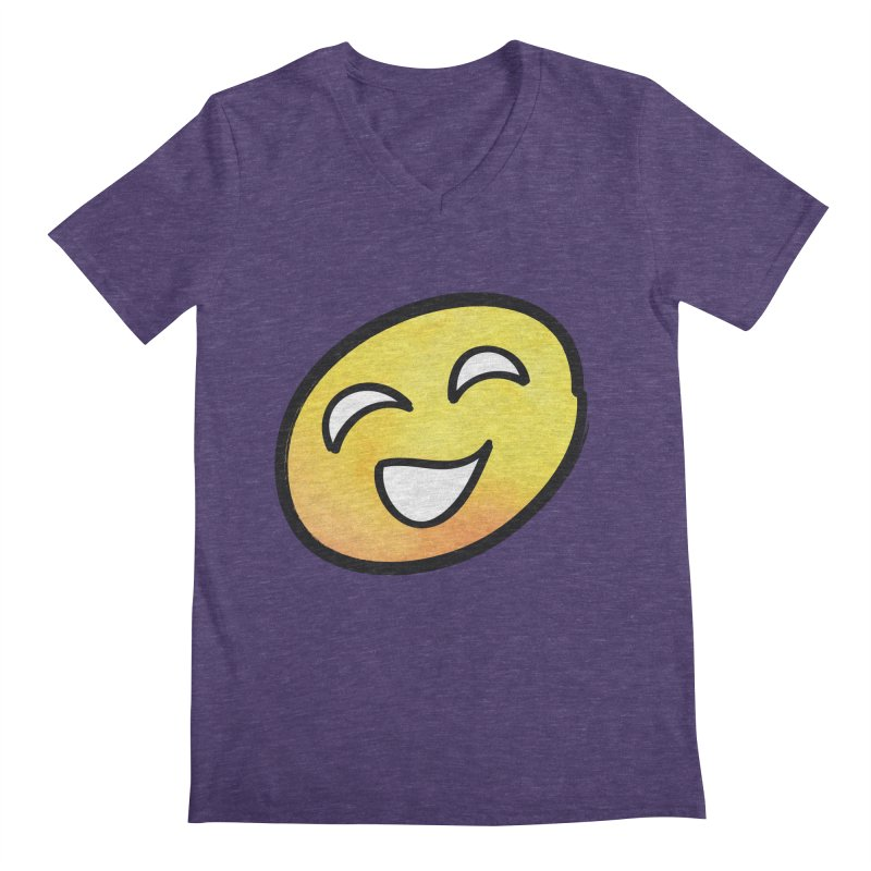 Smiley-Face - Yellow Men's V-Neck by Puttyhead's Artist Shop