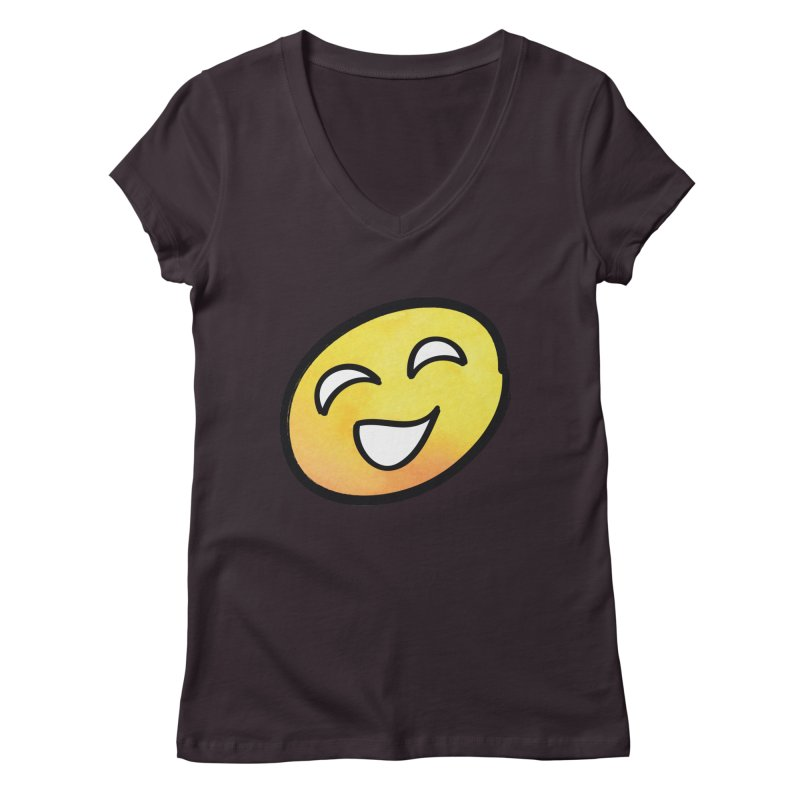 Smiley-Face - Yellow Women's V-Neck by Puttyhead's Artist Shop