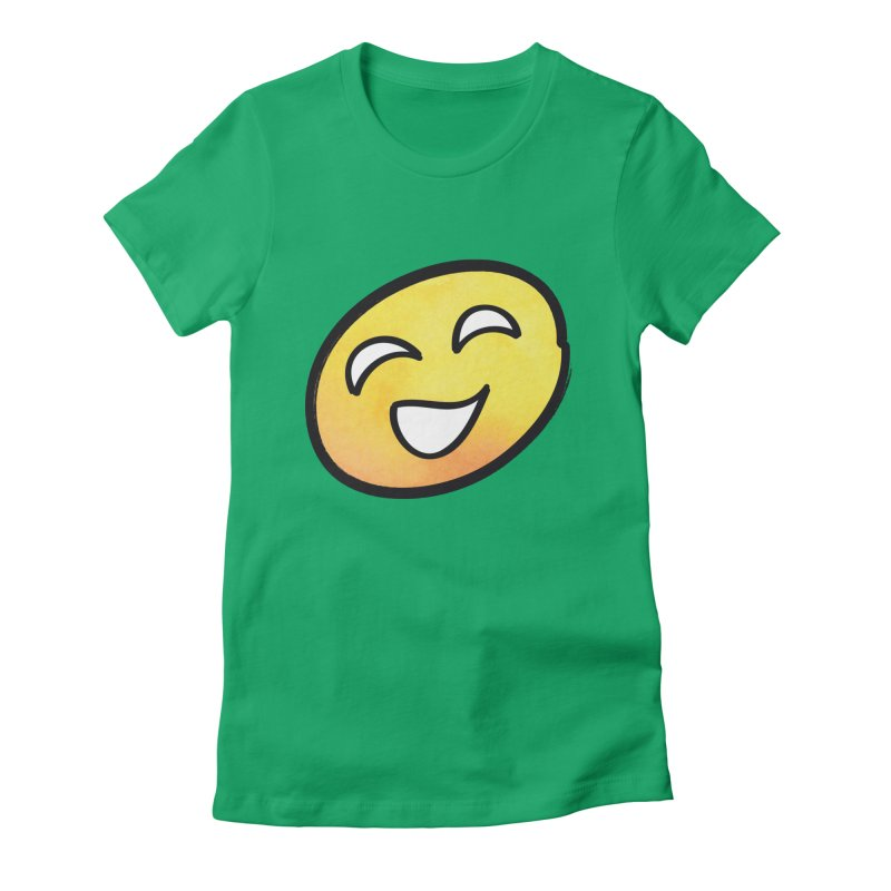 Smiley-Face - Yellow Women's Fitted T-Shirt by Puttyhead's Artist Shop