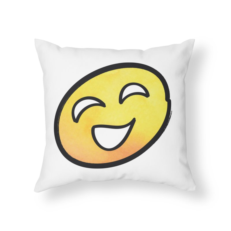 Smiley-Face - Yellow Home Throw Pillow by Puttyhead's Artist Shop