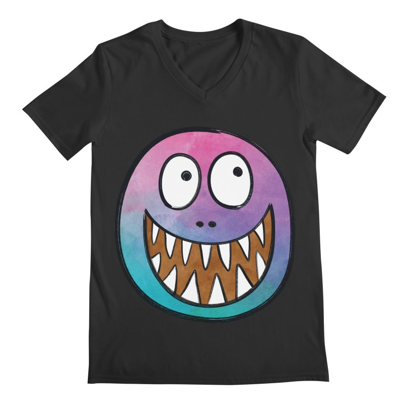 Smiley-Face - Toothy Grin Men's V-Neck by Puttyhead's Artist Shop