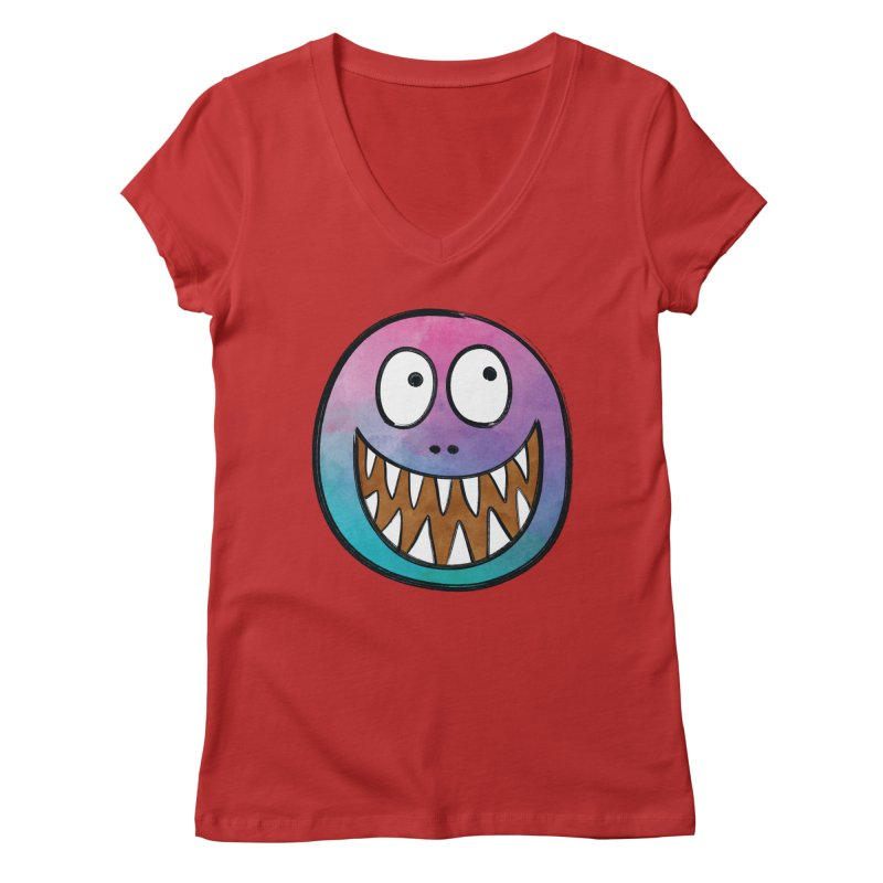 Smiley-Face - Toothy Grin Women's V-Neck by Puttyhead's Artist Shop
