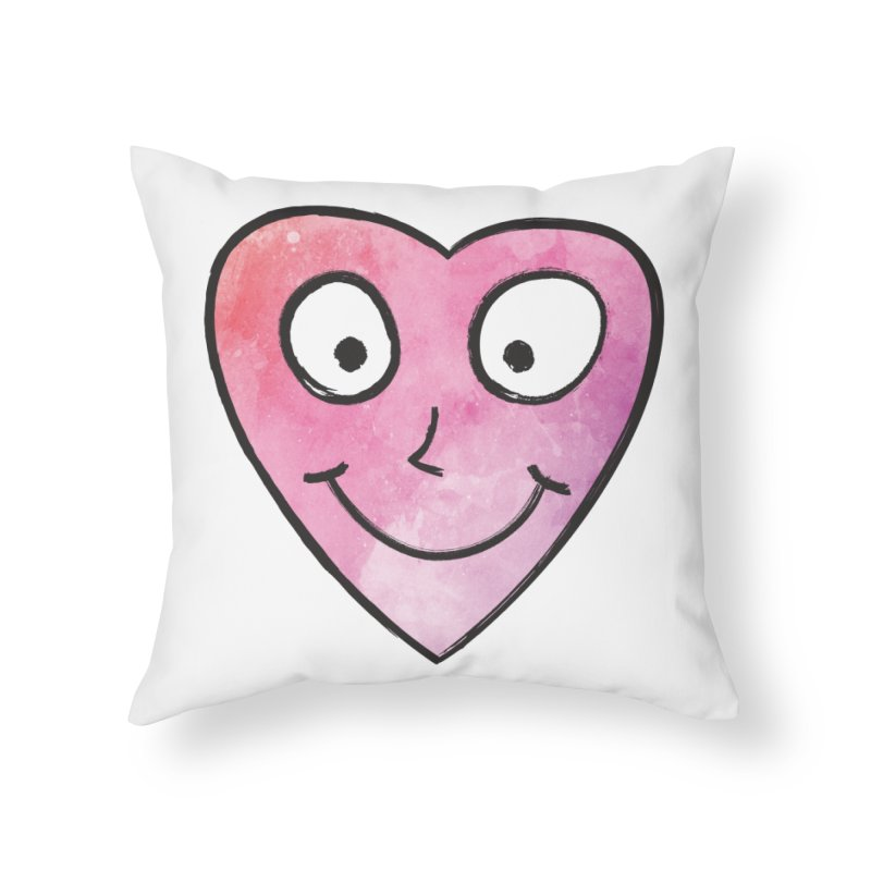 Smiley-Face - Heart Home Throw Pillow by Puttyhead's Artist Shop