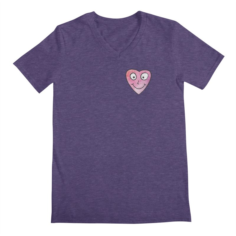 Smiley-Face - Heart Men's V-Neck by Puttyhead's Artist Shop