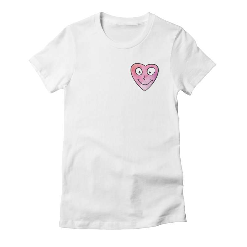 Smiley-Face - Heart Women's Fitted T-Shirt by Puttyhead's Artist Shop