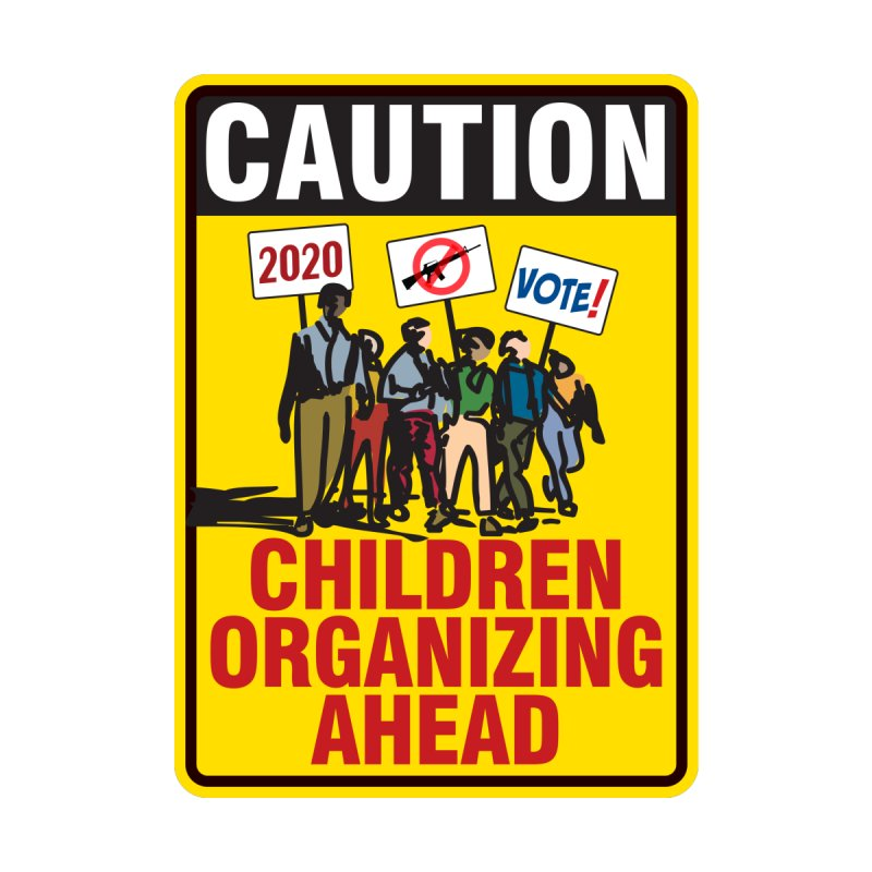 Caution - Children Organizing Men's T-Shirt by Puttyhead's Artist Shop