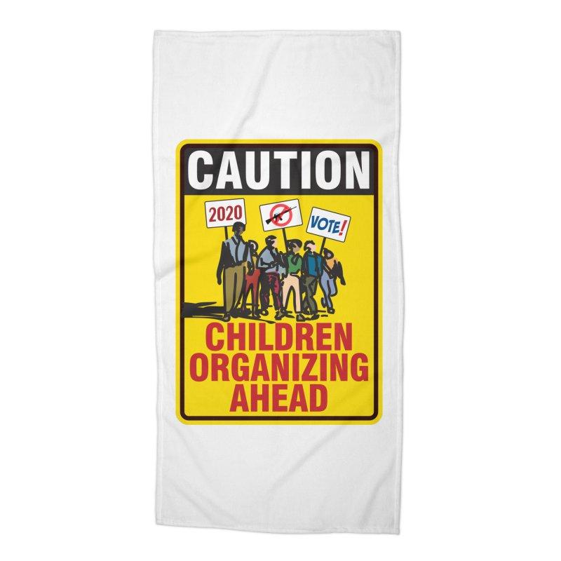 Caution - Children Organizing Accessories Beach Towel by Puttyhead's Artist Shop