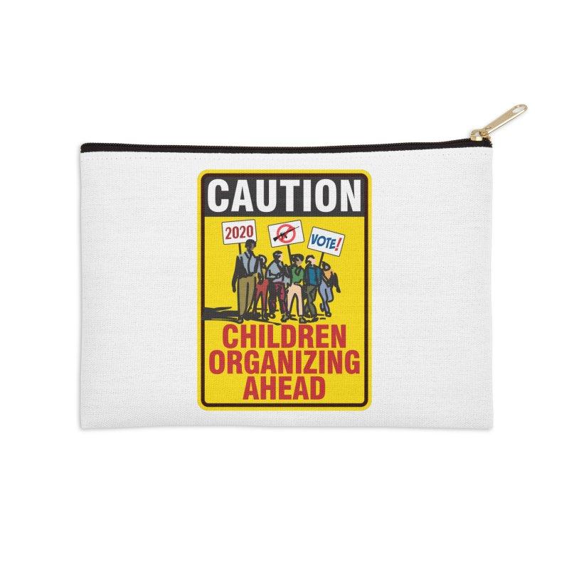 Caution - Children Organizing Accessories Zip Pouch by Puttyhead's Artist Shop