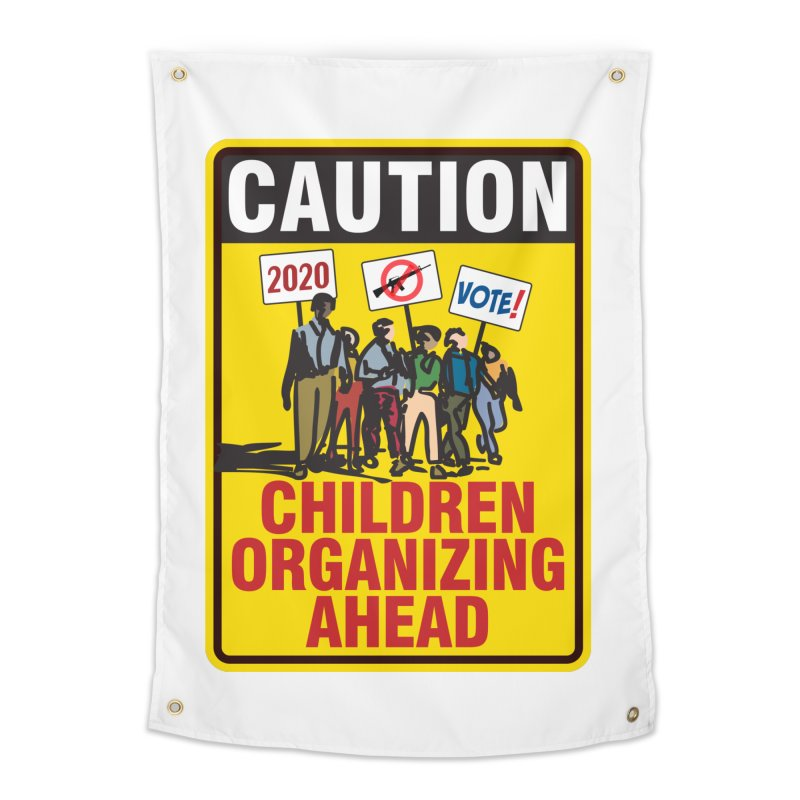 Caution - Children Organizing Home Tapestry by Puttyhead's Artist Shop