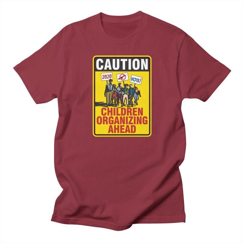 Caution - Children Organizing Men's T-Shirt by Puttyhead's Artist Shop